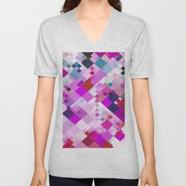 geometric square pixel pattern abstract background in pink blue yellow Unisex V-Neck
