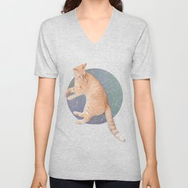Cat Lounging Unisex V-Neck