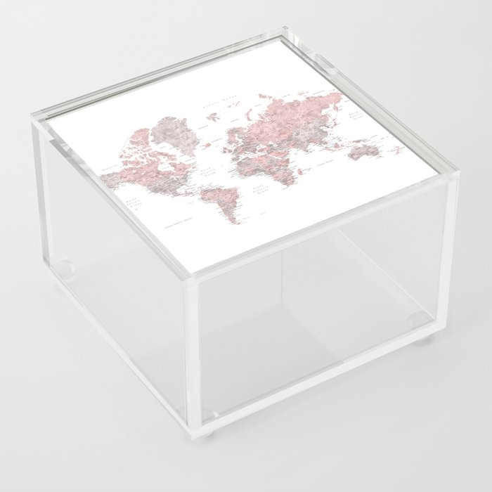 Dusty pink and grey detailed watercolor world map Acrylic Box