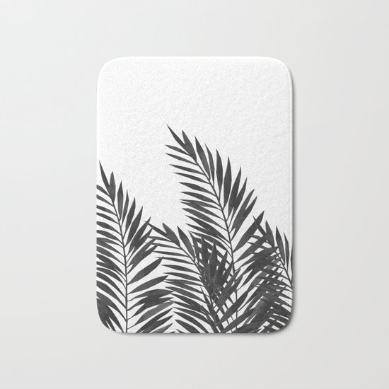 Palm Leaves Black Bath Mat