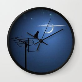 'Goodnight Moon - Cat on a Roof' portrait Wall Clock