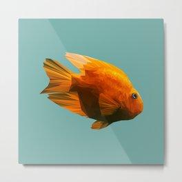 Gold fish low poly. Metal Print
