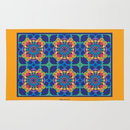 World Citizen Mandala Tiled - Gold Blue Rug