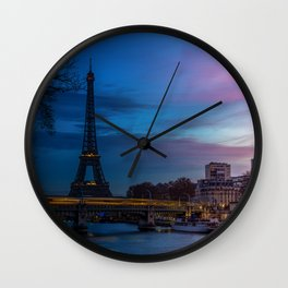 Night to Day over Eiffel tower in winter - Paris Wall Clock