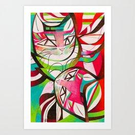 Cat Interplay 3 Art Print