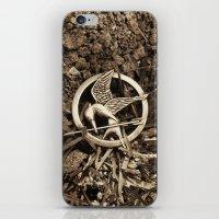 mockingjay iPhone & iPod Skins featuring Mockingjay Pin by Jerry Maestas