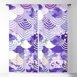 Nature background with japanese sakura flower, Cherry, wave circle. Ultra Violet Color of the Year Blackout Curtain
