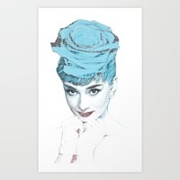 audrey Art Prints featuring Audrey by Susana Miranda ilustración