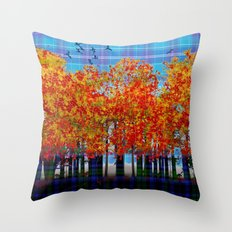 Fall Leaves On Plaid Throw Pillow