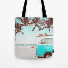 Retro Camper Van With Surf Board Tote Bag