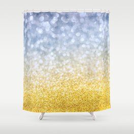 Yellow golden and blue bokeh background. Festive concept. Selective focus. Shower Curtain