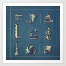 Blueprint for Architectural Growth Art Print