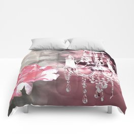 Sparkly Chandelier & Flowers Shades of Pink Comforters