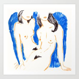 Nudes in Gold and Blue Art Print