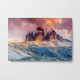 Majestic foggy view of the National Park Tre Cime di Lavaredo Metal Print