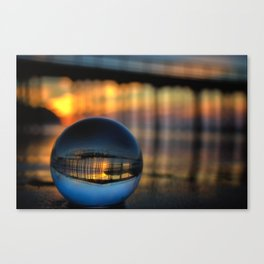 Avila Pier Captured in a crystal ball at sunrise Canvas Print