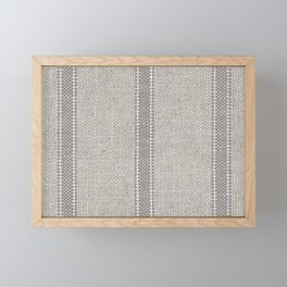 Vintage farmhouse Grain sack Stripes linen Framed Mini Art Print