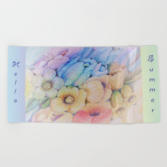 Summer fantasy with by hand drawn flowers. Beach Towel