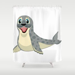 Smiling Baby Seal Shower Curtain
