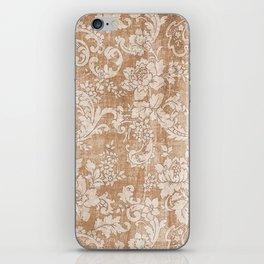 Vintage white brown grunge shabby floral iPhone Skin