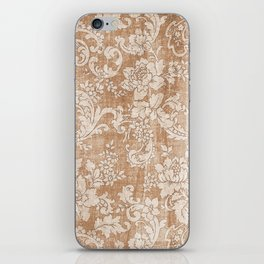 Vintage white brown grunge shabby floral iPhone Skin