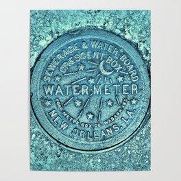 New Orleans Water Meter Louisiana Crescent City NOLA Water Board Metalwork Blue Green Poster
