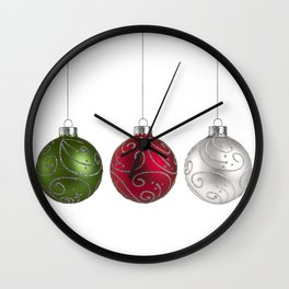 Green, Red, Silver Christmas Ornaments Minimalist Art Wall Clock