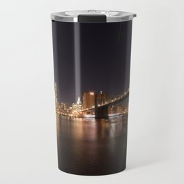 Manhattan Lights including Brooklyn Bridge, One World Trade Travel Mug