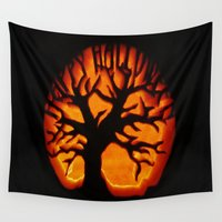 halloween Wall Tapestries featuring HalloWeen by 2sweet4words Designs