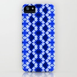 indigo shibori print iPhone Case
