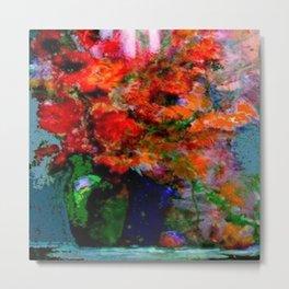 GREEN VASE REDDISH POPPIES STILL LIFE ART Metal Print