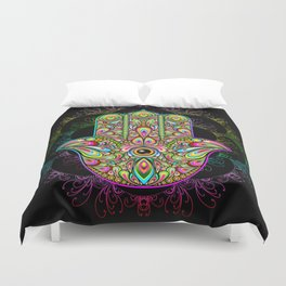 Hamsa Hand Amulet Psychedelic Duvet Cover