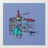 europe Canvas Prints featuring europe by PINT GRAPHICS