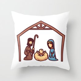 Mary and Joseph Sit and Look at the Baby Jesus Lyi Throw Pillow