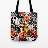 saga Tote Bags featuring Halloween Spooky Cartoon Saga by BluedarkArt