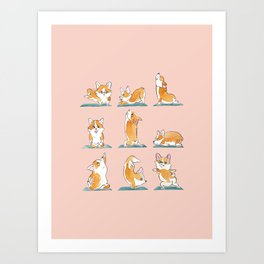 Corgi Yoga Watercolor Art Print
