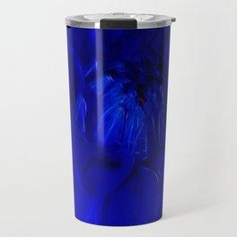 Royal Blue Fractal dahlia Travel Mug