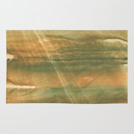 Brown green colored watercolor pattern Rug