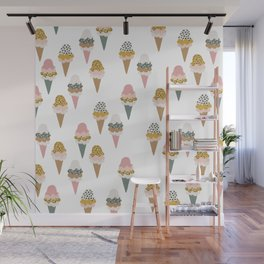 Leopard wild cats ice cream cones summer candy Wall Mural