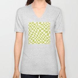 Chartreuse wavy checked pattern Unisex V-Neck