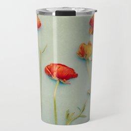 Red Ranunculus Flowers Travel Mug
