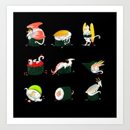 Sushi Dragons Art Print