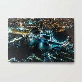 Aerial view of Tower Bridge at Night Metal Print