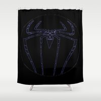 duvet cover Shower Curtains featuring SPIDER DUVET COVER by aztosaha