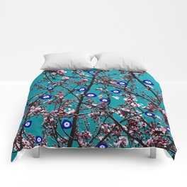 Cherry Blossoms Evil Eyes Comforters