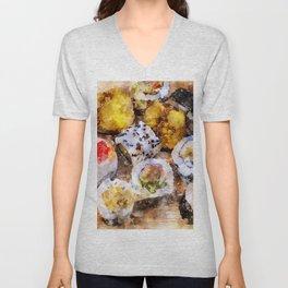 Sushi board watercolor Unisex V-Neck