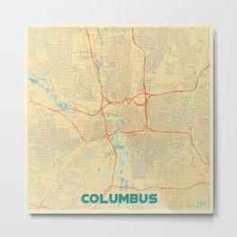 Columbus Map Retro Metal Print