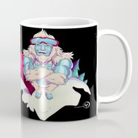 snowboard Mugs featuring Snowboard Yeti [black background] by garciarts