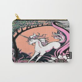 Grey, Pink, Salmon Color Unicorn Floral Fantasy Carry-All Pouch