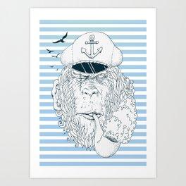 Sailor Monkey Art Print